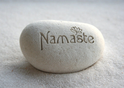 Namaste pebble - engraved beach pebble by SJ-Engraving
