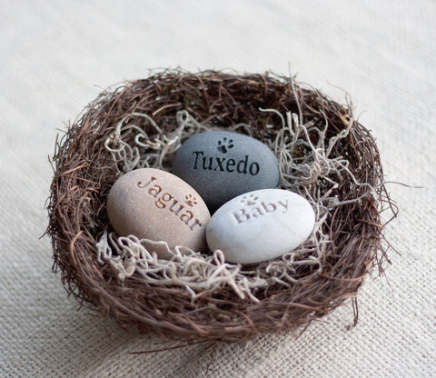 Personalized pet lover gift  - Furry Babies Nest (TM) - set of 3 engraved stones with pets names