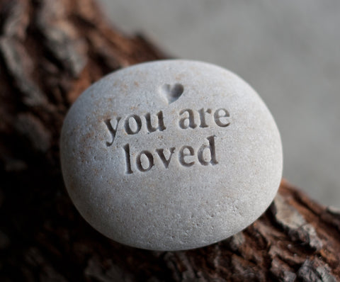 You are loved - engraved message beach pebble by SJ-Engraving