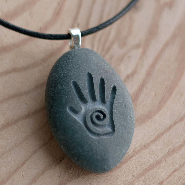 Healing Hand - Tiny PebbleGlyph (C) Necklace - Engraved stone necklace
