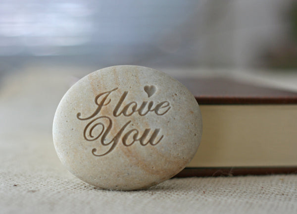 I LOVE YOU- engraved stone gift - Ready to ship