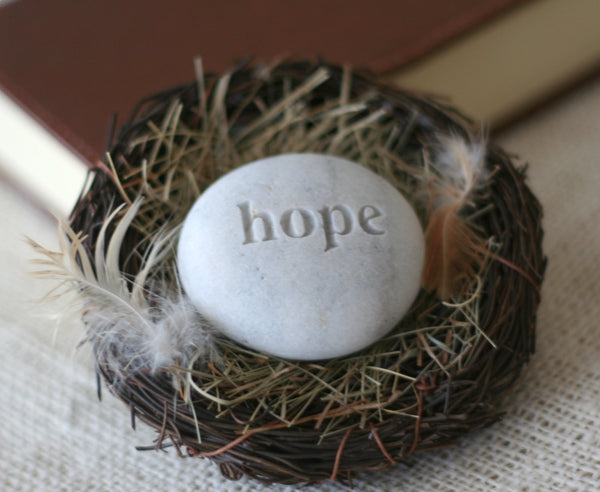 Hope stone in nest -  Ready to ship gift by SJ-Engraving