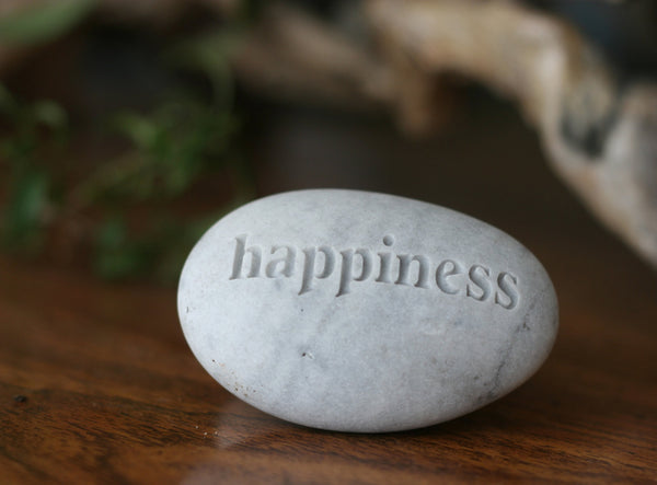 Happiness pebble - Engraved Inspirational Word on Rock - Ready Gift by SJ-Engraving