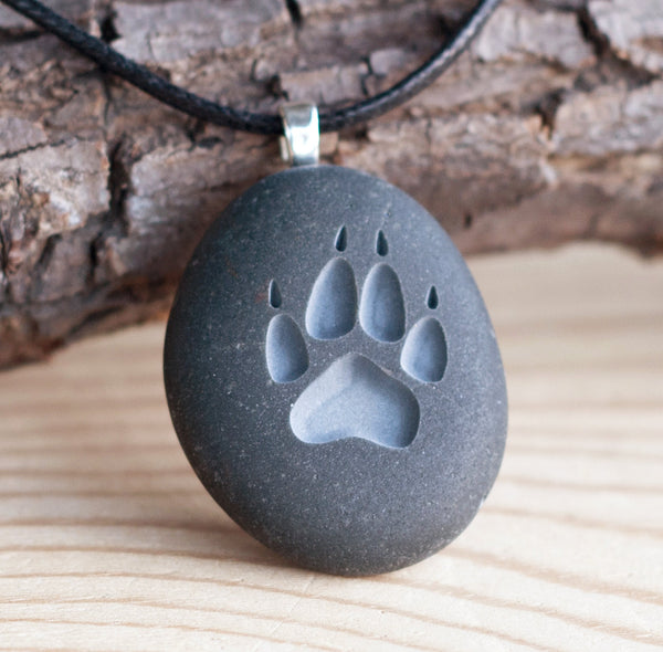 Wolf paw print - engraved stone necklace -Tiny PebbleGlyph (C) necklace by SJ-Engraving