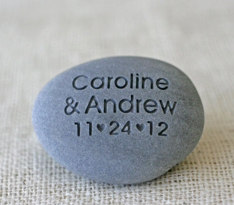 Wedding location pebble - double sided engraving - longitue & latitude engraved pebble