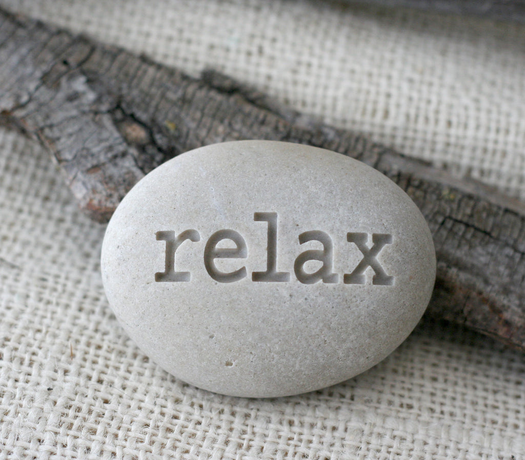 Relax - Engraved Inspirational Word on stone - Ready Gift