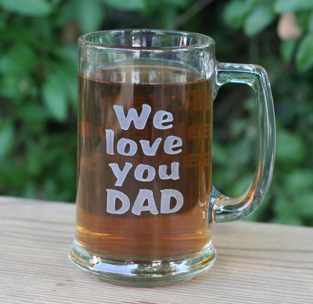 Personalized engraved beer mug for father, grandfather - We love you DAD, Grandpa...