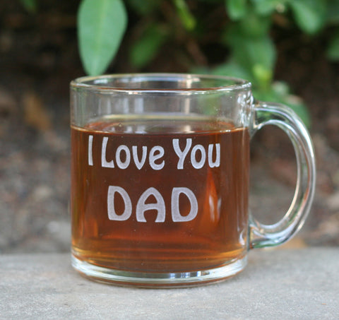 Personalized engraved Glass Mug - with your own text by SJ-Engraving