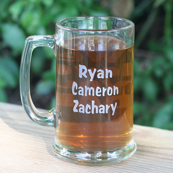 Personalized Grandfather, Father gift - double sided engraved beer mug by SJ-Engraving