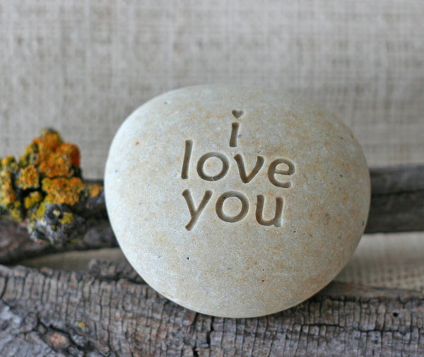 i love you to the moon & back - double sided engraved stone paperweight