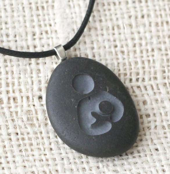 Mothers necklace - Breast feeding symbol - Tiny PebbleGlyph Pendant (c) - Engraved beach stone necklace