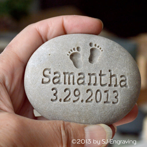 New parent, grandparent gift - New baby rock- newborn personalized engraved gift
