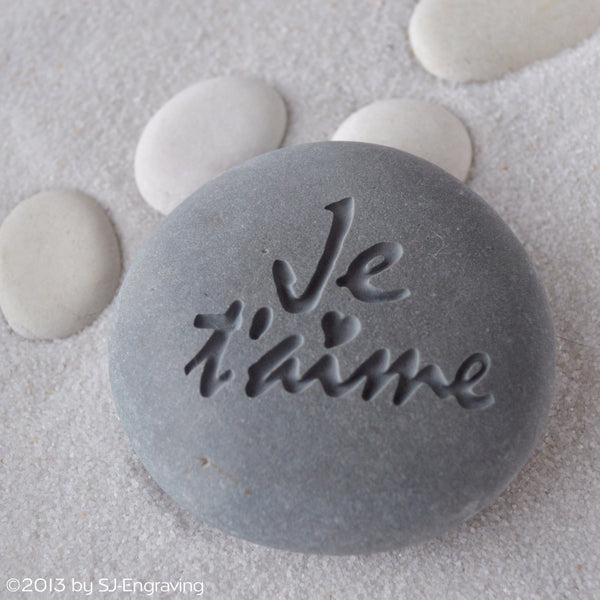 Je Taime - I love you - engraved beach stone ready to ship