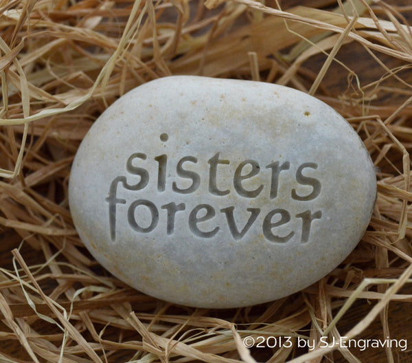 Sisters forever - engraved beach stone by sjEngraving