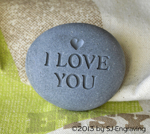 I love you  - Ready to ship engraved beach stone by SJ-Engraving