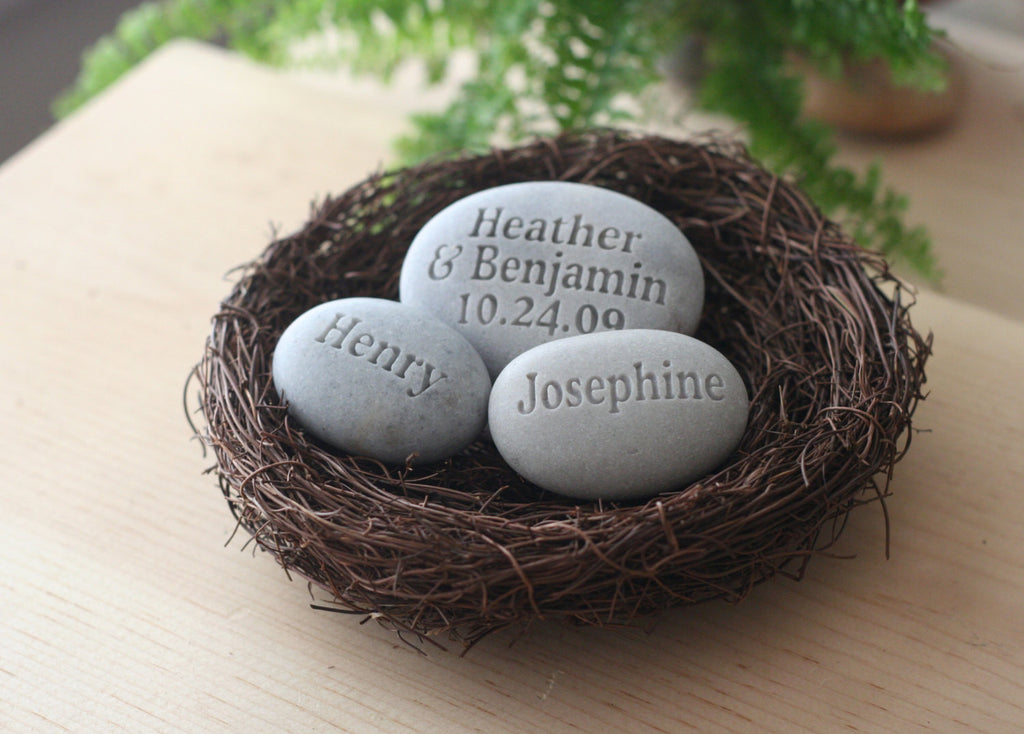 Nest Home Decor Personalized Whole Family Gift Set Of 3 Engraved Stones In Nest