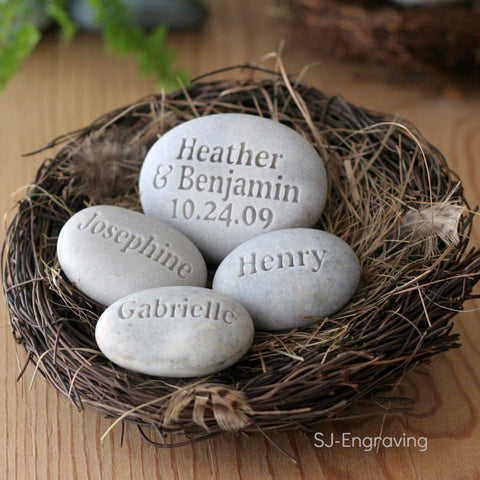 Family Nest ~ Housewarming, Anniversary gift - set of 4 personalized name stones in bird nest
