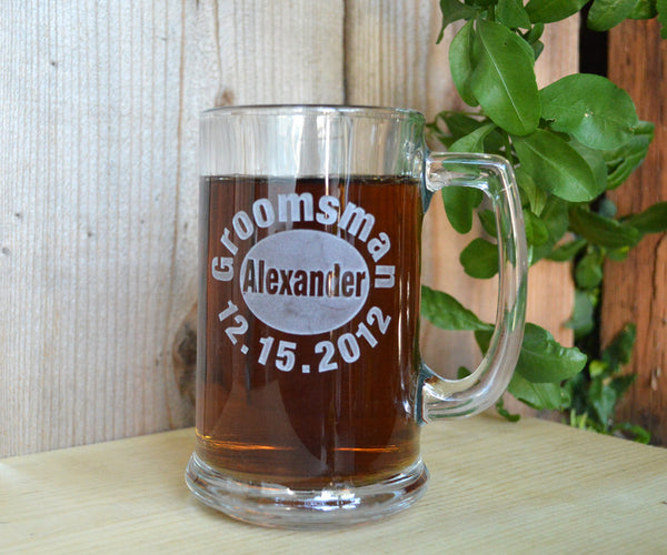 Personalized engraved Groomsmen beer mugs - set of 2 mugs