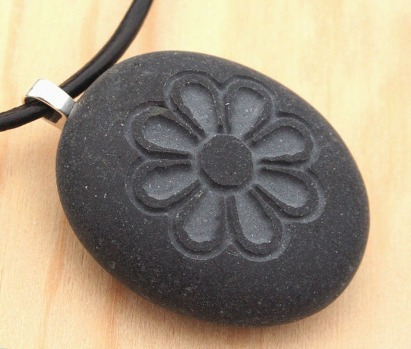 Chrysanthemum Flower Necklace - Tiny PebbleGlyph (C) Necklace