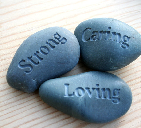 I Love You Dad, because you are inspiring, smart, caring... - Words best describe MY DAD - Set of 3 engrave stones