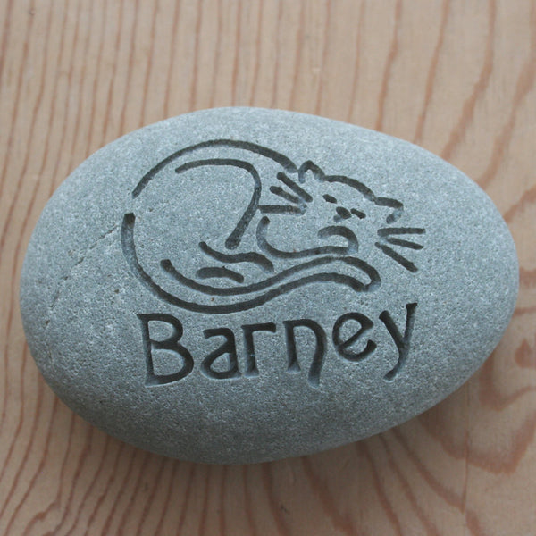 Engraved Cat Memorial - Customized Palm Size Stone Engraving