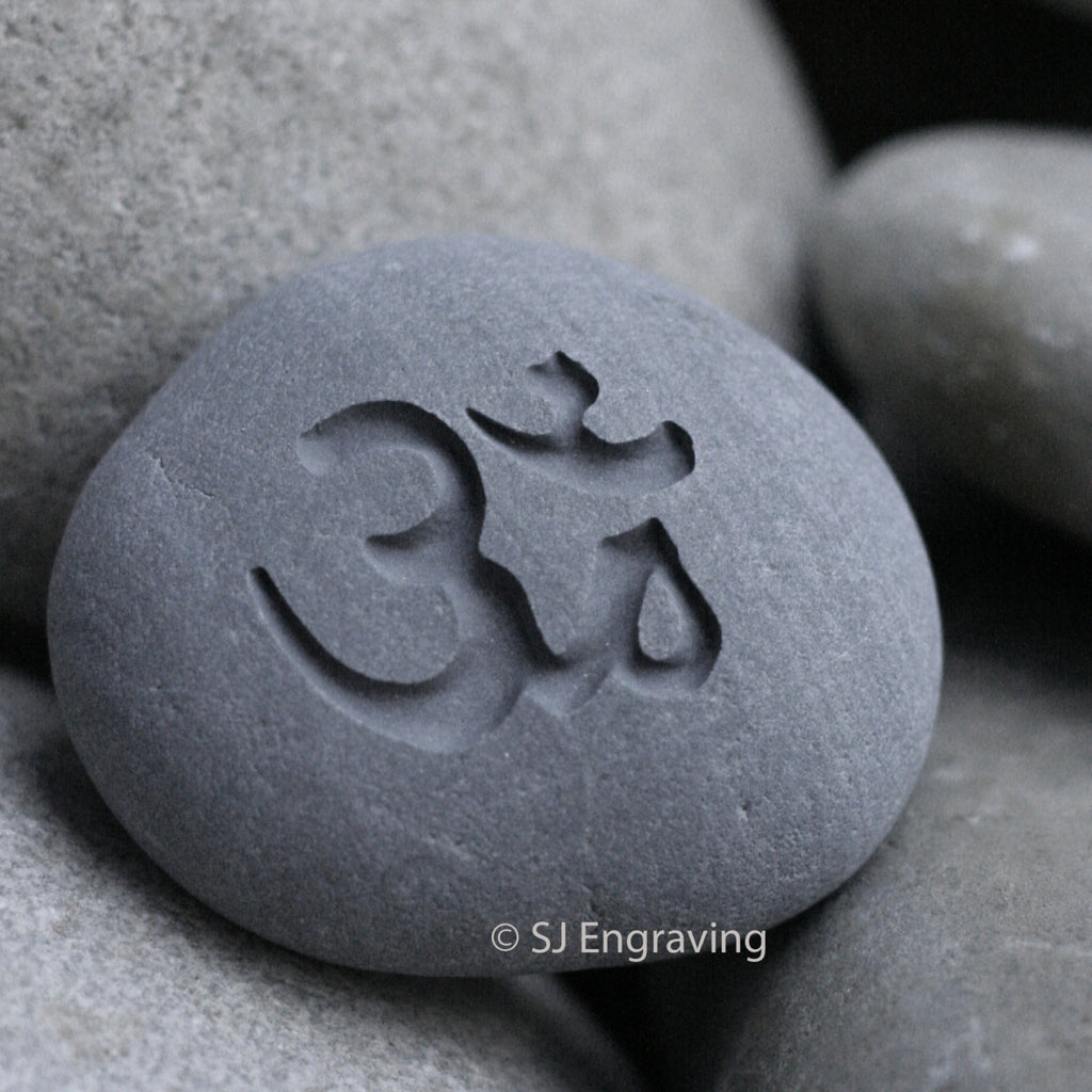 OM - engraved stone ready to ship