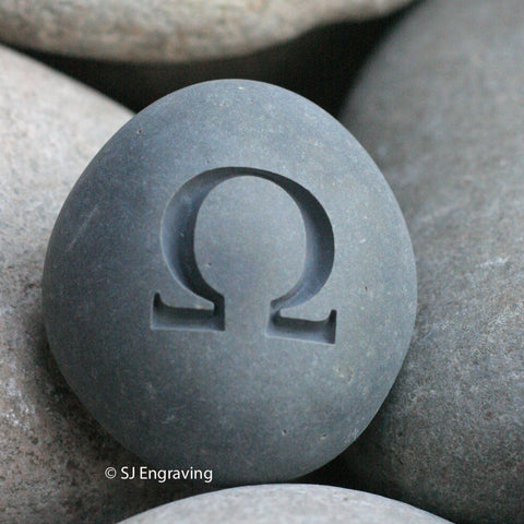 Geek gift - Engraved omega stone paperweight - Ready to ship