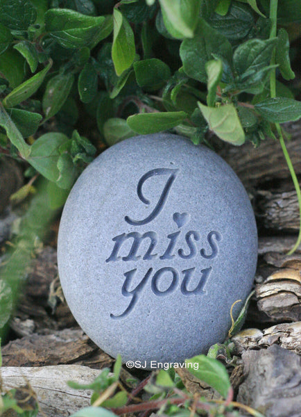 I miss you - Ready to ship - engraved beach stone by SJ-Engraving