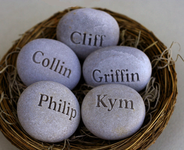 Personalized mothers gift nest - Set of 5 engraved stones in bird nest - engraved personalized gift
