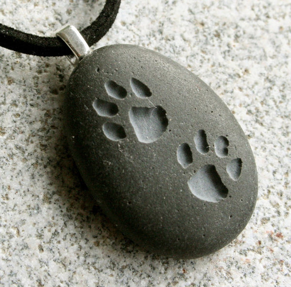 Pet lovers necklace - Puppy Pawprints Engraved Tiny PebbleGlyph (C)