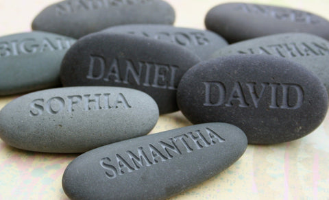 Personalized Gift for Group -  set of 10 or more engraved gray name stones