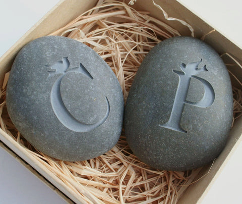 Personalized Love rocks - Custom Love Birds Initials stones - for Couples in love, engagement, wedding and anniversary gifts
