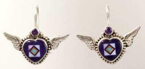 Aldrich Art-Sorrel Sky Gallery-Jewelry-Sugilite Winged Heart Earrings