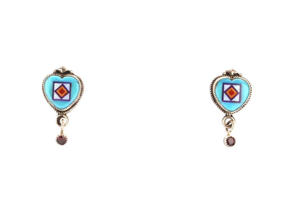 Aldrich Art-Sorrel Sky Gallery-Jewelry-Turquoise Heart Earrings