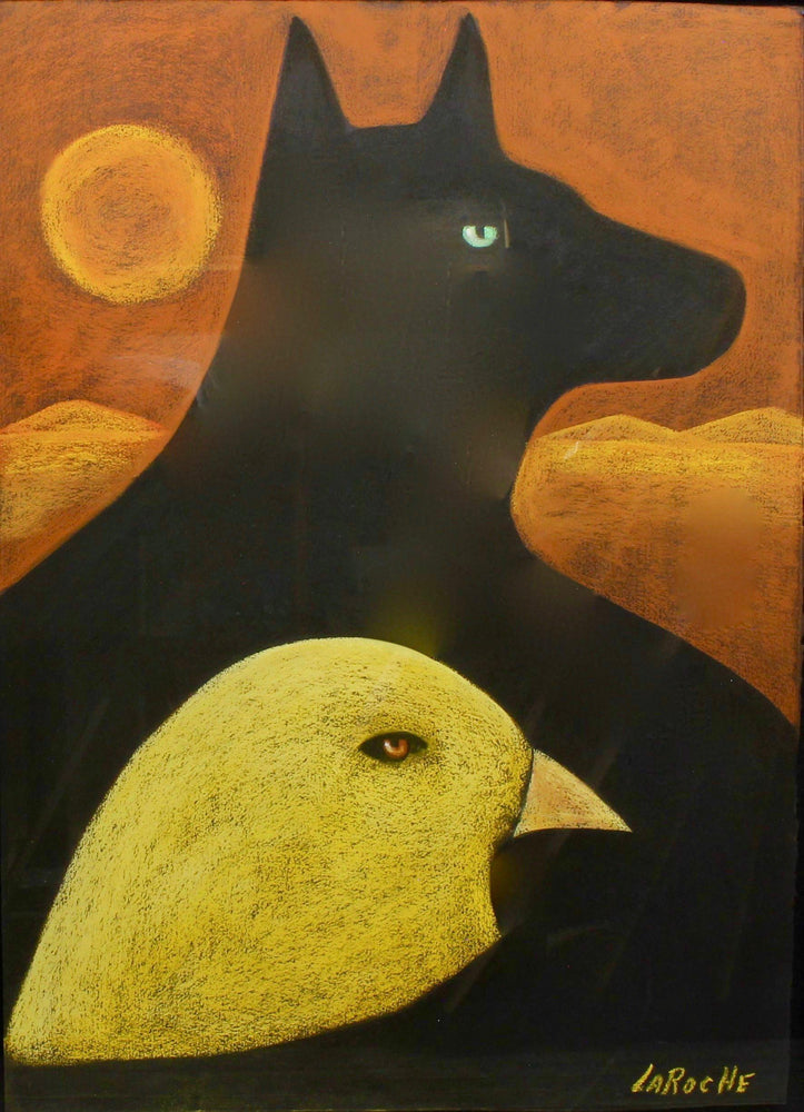 Aline Randle-Sorrel Sky Gallery-Painting-Black Horse, Yellow Bird