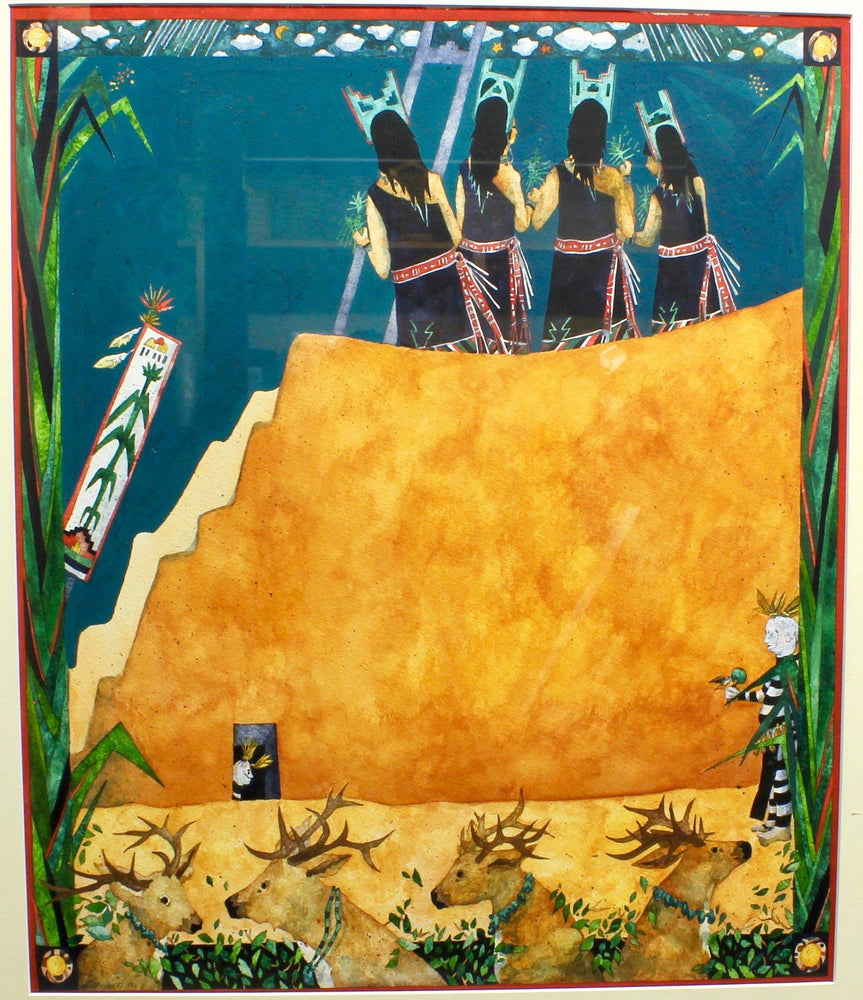 Aline Randle-Sorrel Sky Gallery-Painting-Corn Dance at Santo Domingo