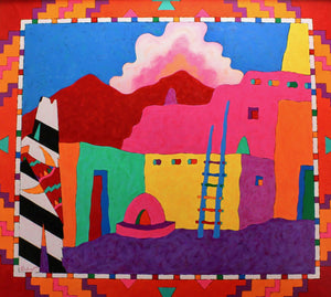 Aline Randle-Sorrel Sky Gallery-Painting-Sonny Boy Crooning His Song to the People of Taos