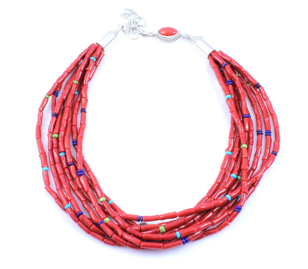 Artie Yellowhorse-8 Strand Coral Necklace-Sorrel Sky Gallery-Jewelry