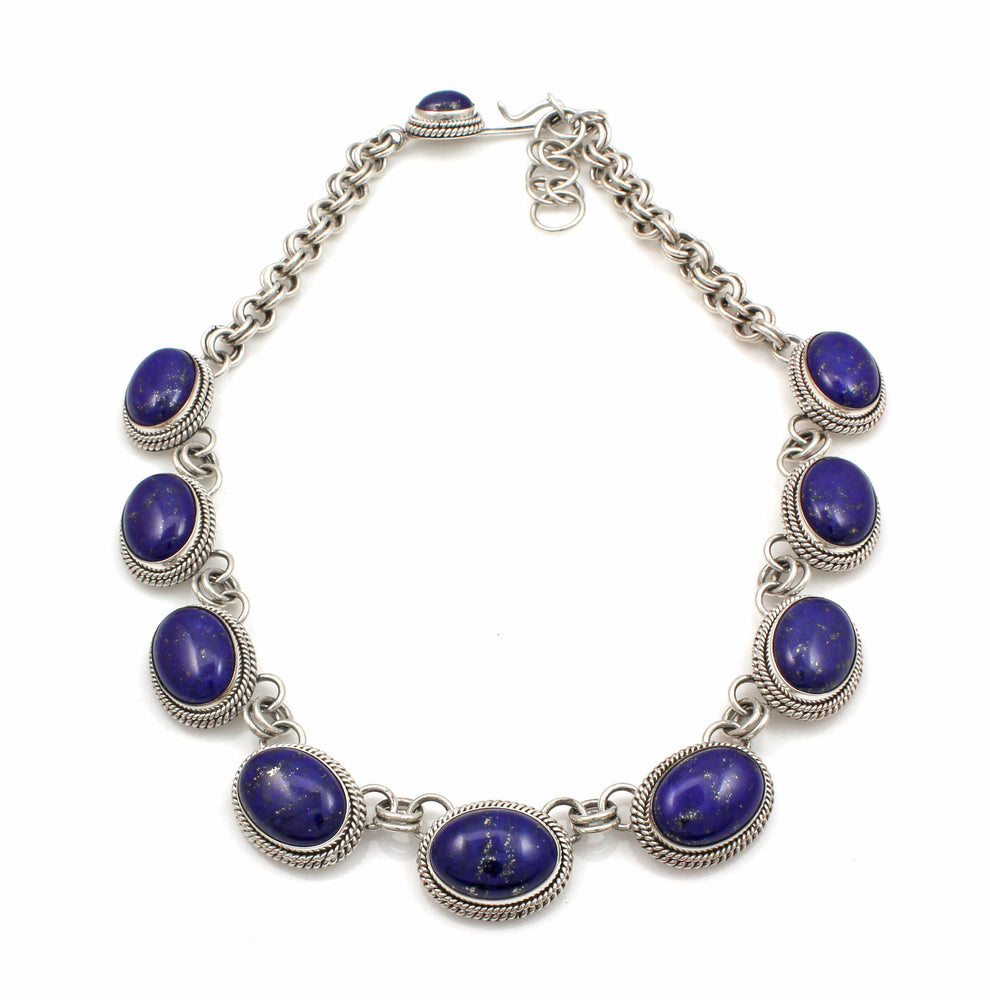 9 Stone Lapis Necklace