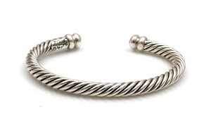 Cable Silver Cuff Bracelet