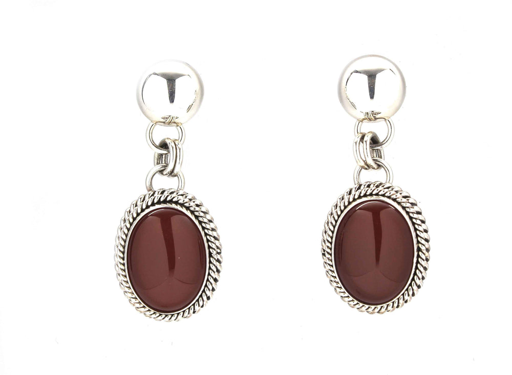 Artie Yellowhorse-Carnelian Drop Earrings-Sorrel Sky Gallery-Jewelry