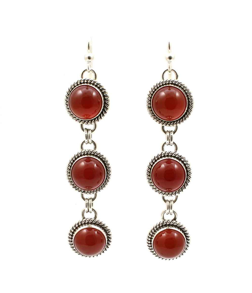 Carnelian Triple Drop Earrings