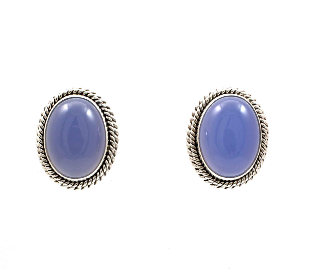 Chalcedony Clip On Earrings-Jewelry-Artie Yellowhorse-Sorrel Sky Gallery