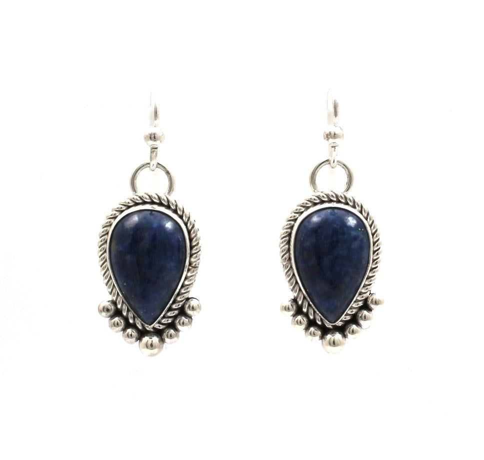 Denim Lapis Dangle Earrings
