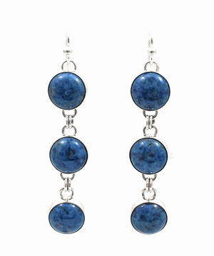 Denim Lapis Triple Drop Earrings-Jewelry-Artie Yellowhorse-Sorrel Sky Gallery