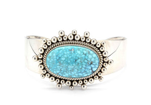 Artie Yellowhorse-Kingman Turquoise Bracelet-Sorrel Sky Gallery-Jewelry