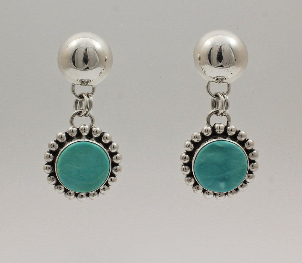 Mongolian Turquoise Dangle Earrings