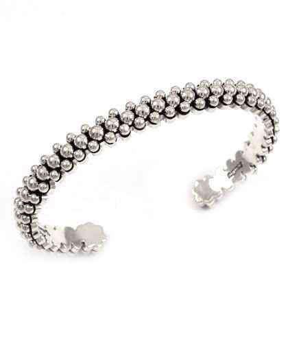 Narrow Silver Bead Bracelet