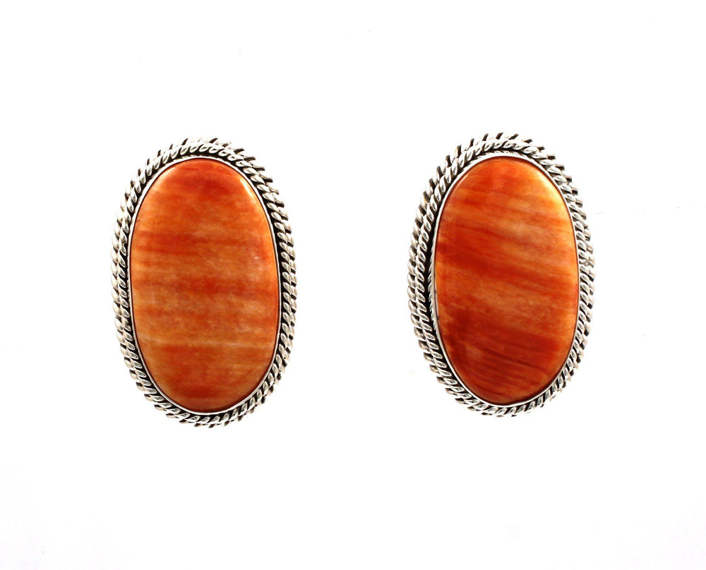 Orange Spiny Oyster Clip On Earrings-Jewelry-Artie Yellowhorse-Sorrel Sky Gallery