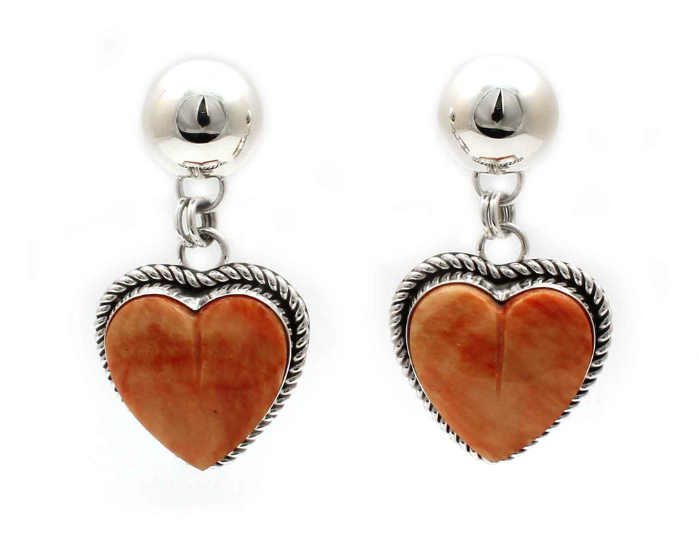 Orange Spiny Oyster Heart Earrings